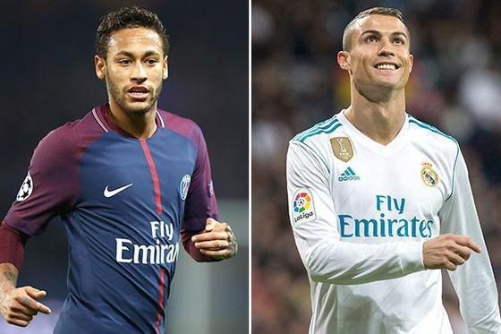 Neymar (Paris Saint Germain) và Cristiano Ronaldo (Real Madrid).
