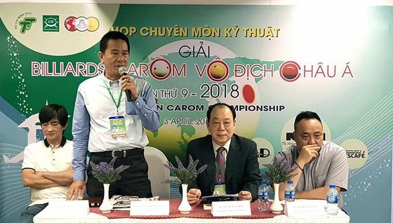 Quang cảnh buổi họp kỹ thuật giải Billiards vô địch châu á năm 2018. Ảnh: NHẬT ANH