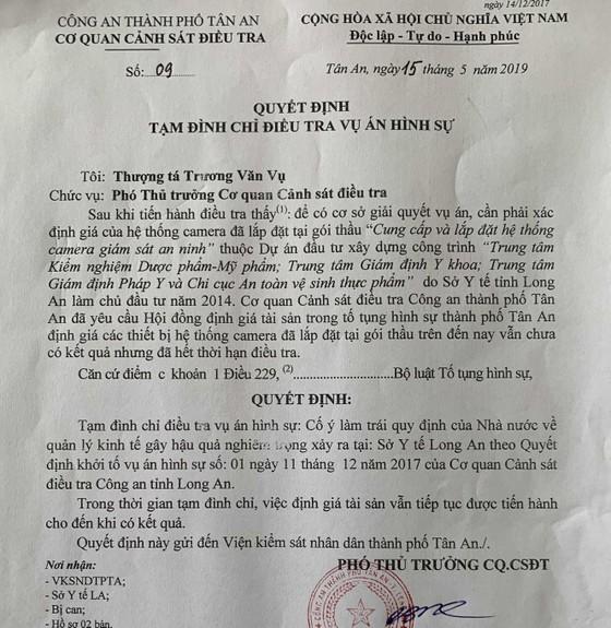 Vụ nguyên Giám đốc Sở Y tế Long An bị khởi tố:Cơ quan CSĐT tạm đình chỉ điều tra bị can ảnh 1