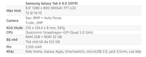 Galaxy Tab A 8.0 giá chỉ 3.690.000 đồng ảnh 2