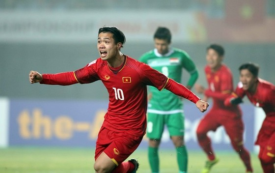 """Công Phượng """"thông nòng"""" với bàn thắng trong trận Tứ kết là tín hiệu khả quan cho hàng công U23 Việt Nam. Ảnh: ANH KHOA"""