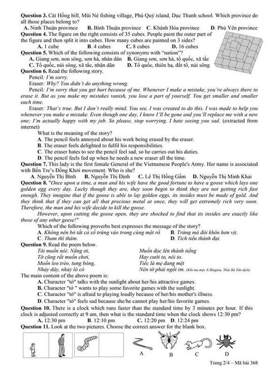 Công bố đề và đáp án bài khảo sát vào lớp 6 Trường THPT chuyên Trần Đại Nghĩa ảnh 4