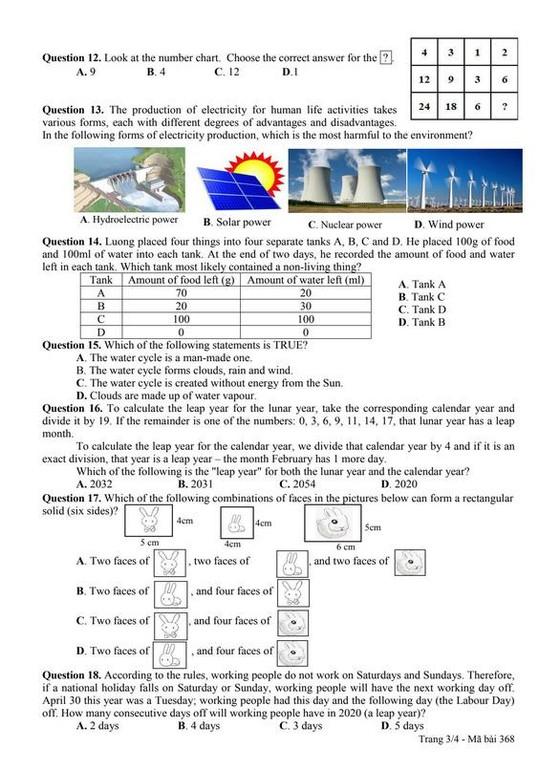 Công bố đề và đáp án bài khảo sát vào lớp 6 Trường THPT chuyên Trần Đại Nghĩa ảnh 5