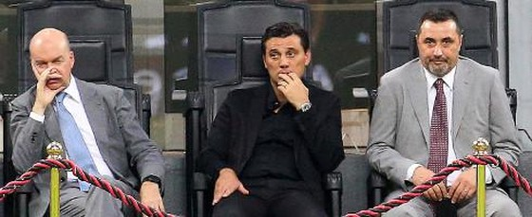 Marco Fassone, Vincenzo Montella và Gáim đốc thể thao Massimiliano Mirabelli. Ảnh: ANSA.