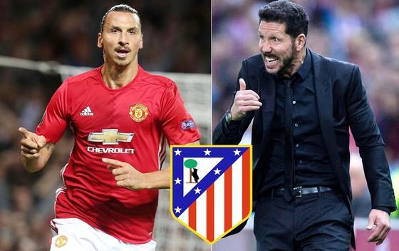 HLV Simeone (phải) và Atletico đang mơ sở hữu Ibrahimovic.