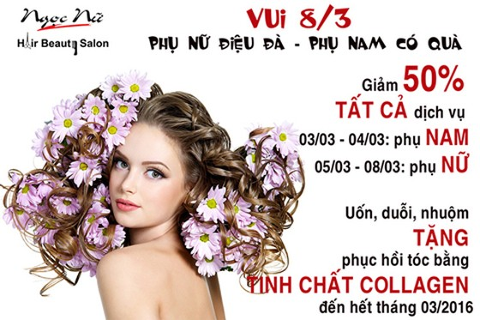 Hair Beauty salon Ngọc Nữ khuyến mại 8-3 ảnh 1