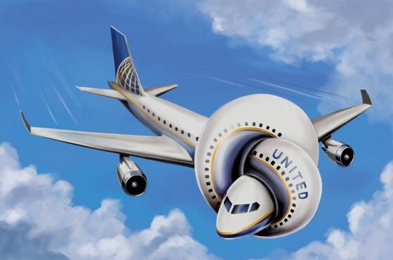 United Airlines tự lấy đá ghè chân ảnh 1
