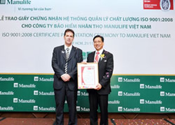 Manulife Việt Nam được cấp ISO 9001:2008 ảnh 1