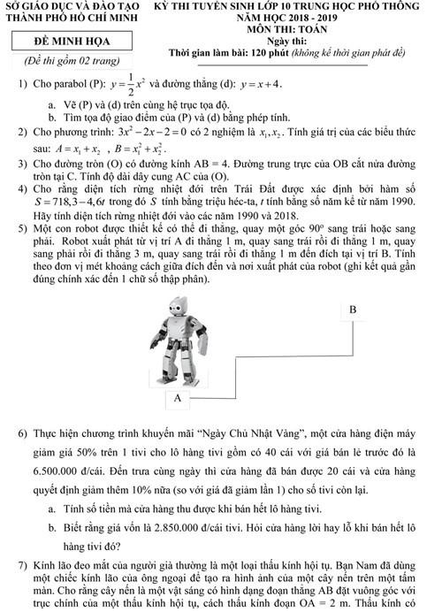 TPHCM công bố đề thi minh họa môn Toán tuyển sinh lớp 10 năm học 2018-2019 ảnh 1