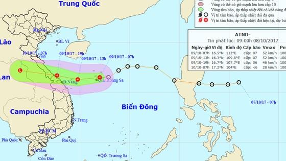 Chiều tối và tối 9-10, áp thấp nhiệt đới đi vào đất liền các tỉnh Quảng Bình - Đà Nẵng  ảnh 1