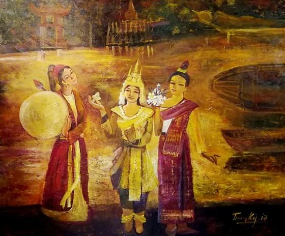 55 tác phẩm hội họa tham gia Triển lãm mỹ thuật Việt Nam - Lào - Campuchia ảnh 3