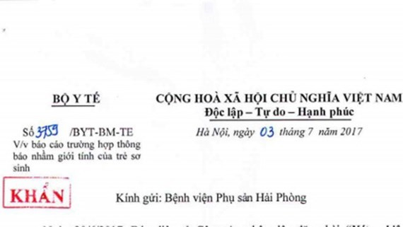 The Ministry of Health's document sent to the hospital urging to report the ministake in baby gender (Photo: SGGP)