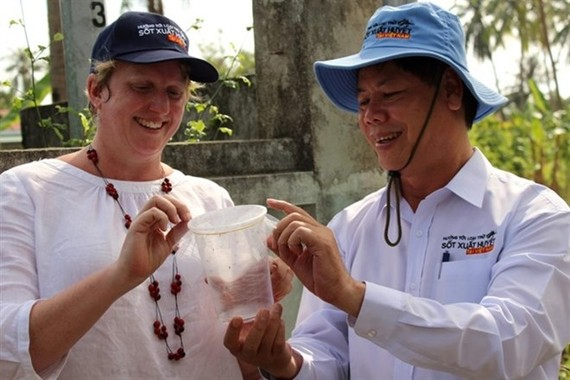 Vietnamese and Australian experts release anti-dengue mosquitoes in Nha Trang (Photo: VNA)
