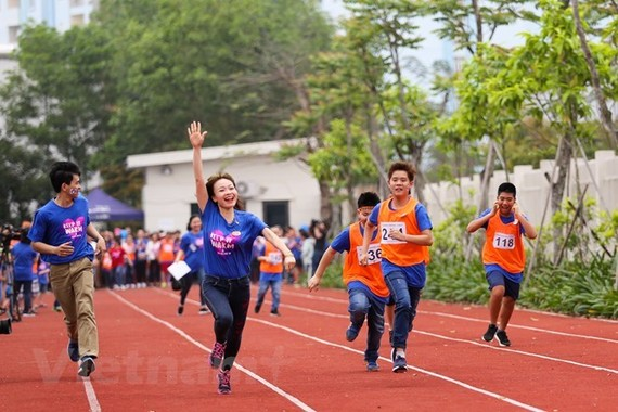 The vibrant sport festival is held in Bac Ninh province to raise public awareness of autism. (Photo: VNA)