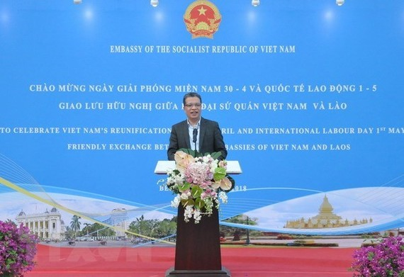Vietnamese Ambassador to China Dang Minh Khoi speaks at the event (Photo: VNA)