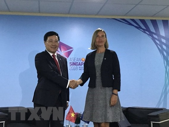 Deputy Prime Minister and Foreign Minister Pham Binh Minh (L) and EU High Representative for Foreign Affairs and Security Policy Federica Mogherini (Source: VNA)