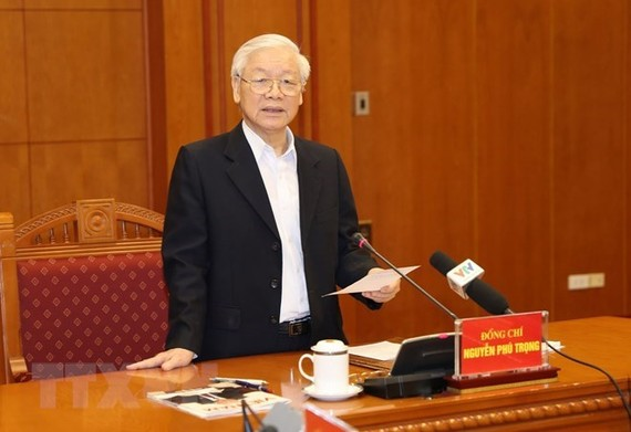 Party General Secretary and President Nguyen Phu Trong addresses the meeting on November 10 (Photo: VNA)