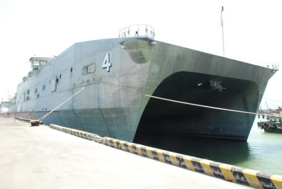 USNS Fall River (T-EPF-4) of the United States Military Sealift Command docks at Tien Sa port