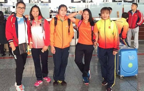 The Vietnamese female wrestling team at the championship (Photo: hanoimoi.com.vn)