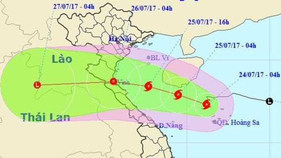 Position of typhoon Sonca on sea (Photo: the National Hydrology Meteorology Forecast Center)