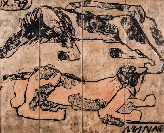 Lacquer painting Meo Von Nhau by Vietnamese artist Nguyen Sang was sold at US$ 101,000, a record price, at the 6th session of Chon's Auction House in the capital city (Photo: thethaovanhoa.vn)