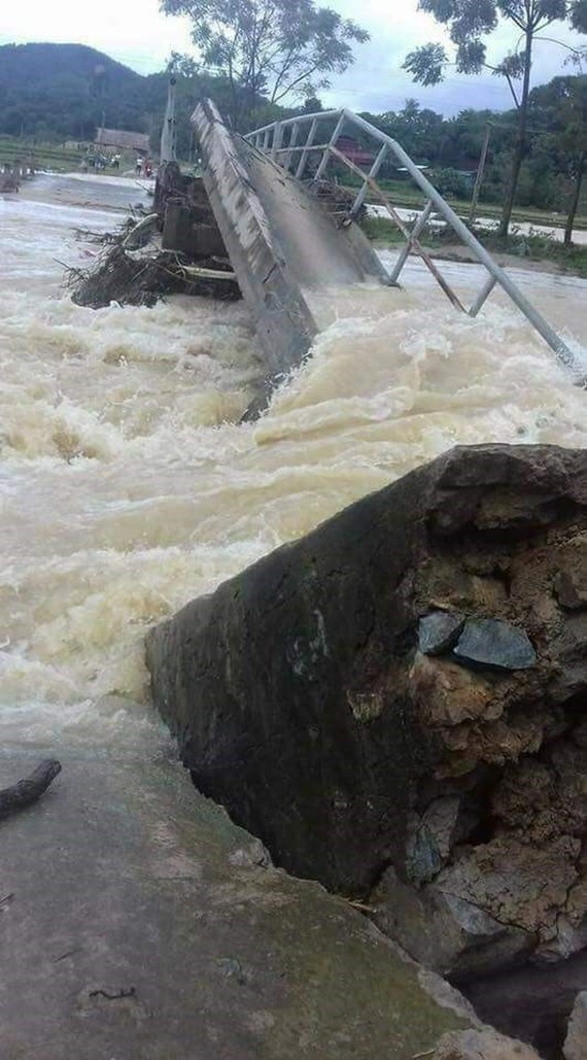 Flash flood sweeps away a local bridge