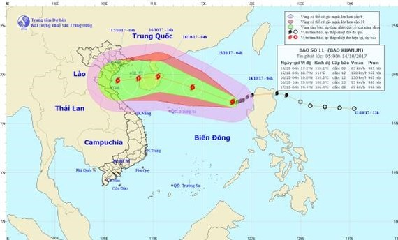Position of typhoon Khanun in sea