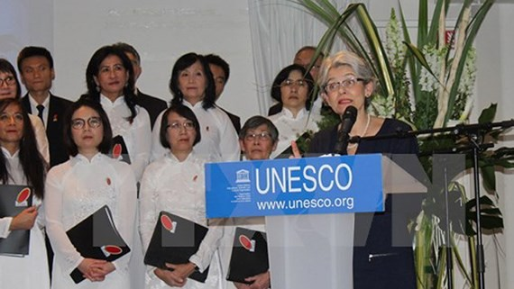 General Director of UNESCO Irina Bokova speaks at the exhibition.