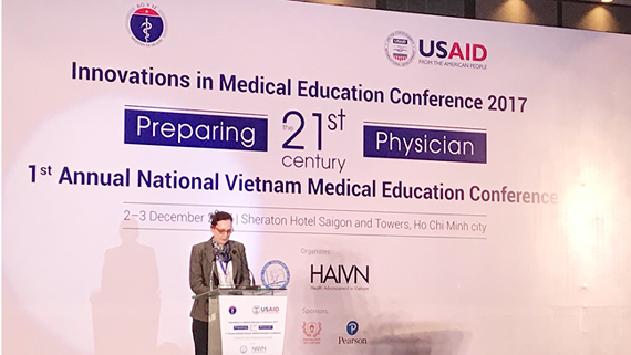U.S. Chargé d'Affaires to Vietnam Caryn McClelland speaks at the  First Annual National Vietnam Medical Education Conference