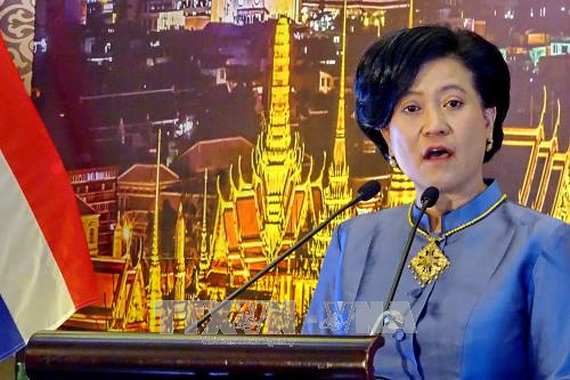 Thai consul general in HCMC Ureerat Ratanaprukse speaks at the celebration (Photo:VNA)