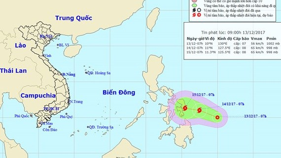 Tropical low pressure system appears in the East Sea (Photo:NHMFC)