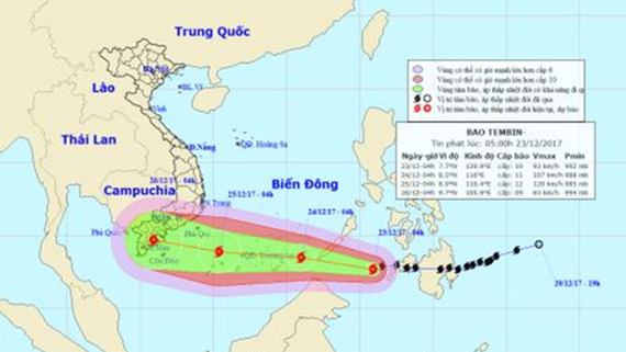 Typhoon Tembin is approaching the provinces from Ba Ria- Vung Tau to Ca Mau