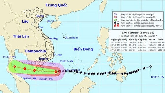 Position of Tembin near the southern seashore of Vietnam (Photo:NHMFC)