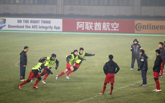 Vietnam's U23 team trains in preparation for the match with Syria . (Photo: vff.org.vn)