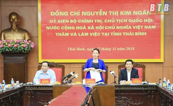 National Assembly Chairwoman Nguyen Thi Kim Ngan speaks in the working (Photo: Thai Binh Newspaper)