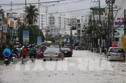 A flooded street in Nha Trang city of Khanh Hoa (Photo: VNA)