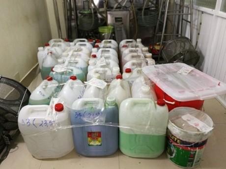 Nguyên liệu dùng làm thực phẩm chức năng giả được cơ quan chức năng thu giữ được
