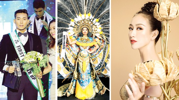 Siêu mẫu Hữu Long, Kiko Chan, Hà Thu (từ trái qua phải) đại diện Việt Nam tham dự các cuộc thi sắc đẹp thế giới năm 2017