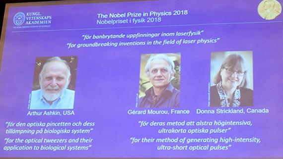 3 nhà khoa học được trao giải Nobel Vật lý 2018. Ảnh: REUTERS