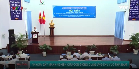 市委書記阮善仁在研討會上發表講話。(圖源:VTV9)