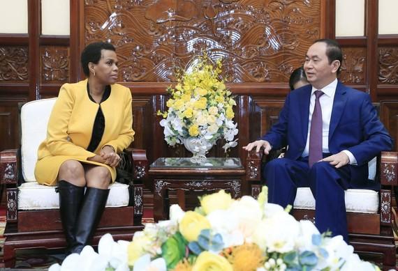 國家主席陳大光(右)接見南非大使克哥姆特蘇‧魯特‧馬加巫。(圖源:顏創)