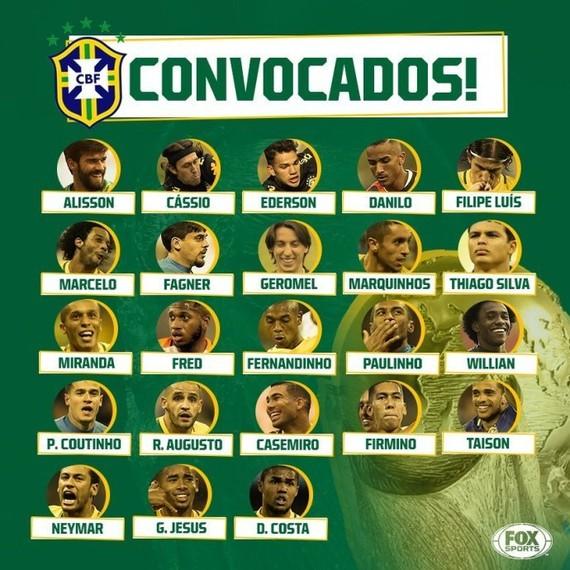 巴西公佈世界盃23人正式名單。(圖源:Fox Sports)