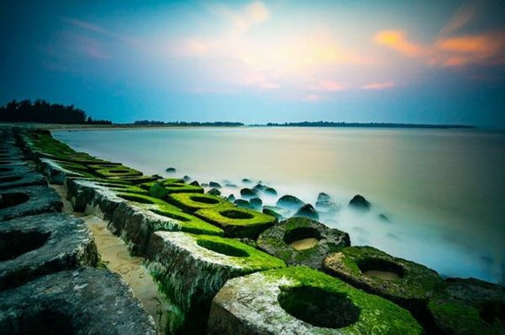 低石灘上被綠色青苔覆蓋,給人平靜的感覺。