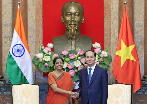 國家主席陳大光接見印度國防部長尼爾瑪拉。(圖源:顏創)