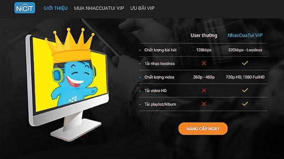 Nhaccuatui 網頁的VIP付費音樂服務證明付費和免費音樂之間的差別。