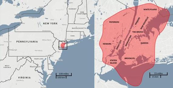 圖中描繪的是一顆直徑大約30米的小行星碰撞在紐約地區,造成的破壞範圍。