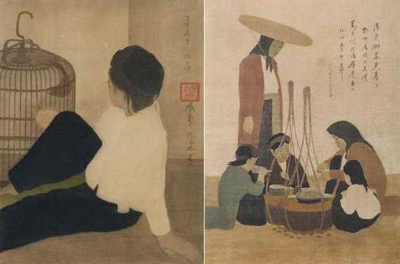 阮潘正名畫家的兩幅傑作《蝸牛商販》和《孩童餵鳥》在香港拍賣會以高價成交。