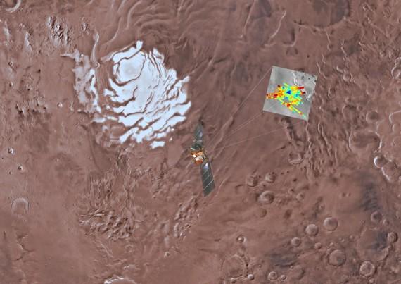 一項最新研究指出,首度發現火星深處似乎埋藏了一個巨大地下胡泊。(圖源:Science)