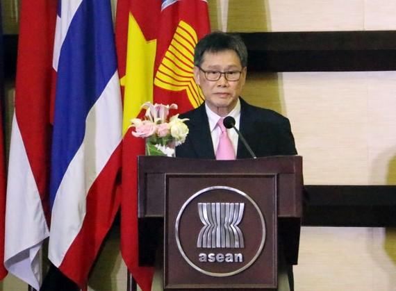 東盟秘書長林玉輝發表演講。(圖源:陳戰)