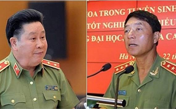 左起:原公安部副部長裴文成中將警銜降為大校;原公安部副部長陳越新上將降為中將降為中將